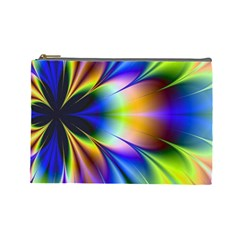 Bright Flower Fractal Star Floral Rainbow Cosmetic Bag (large)  by Mariart