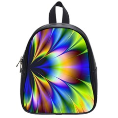 Bright Flower Fractal Star Floral Rainbow School Bags (small)  by Mariart