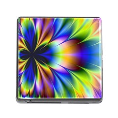 Bright Flower Fractal Star Floral Rainbow Memory Card Reader (square) by Mariart