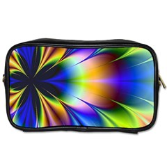 Bright Flower Fractal Star Floral Rainbow Toiletries Bags 2 Side by Mariart