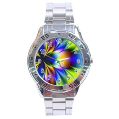 Bright Flower Fractal Star Floral Rainbow Stainless Steel Analogue Watch by Mariart