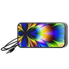 Bright Flower Fractal Star Floral Rainbow Portable Speaker (black) by Mariart