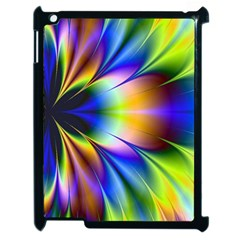 Bright Flower Fractal Star Floral Rainbow Apple Ipad 2 Case (black) by Mariart