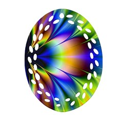 Bright Flower Fractal Star Floral Rainbow Oval Filigree Ornament (two Sides) by Mariart