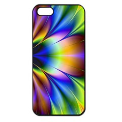 Bright Flower Fractal Star Floral Rainbow Apple Iphone 5 Seamless Case (black) by Mariart