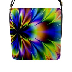 Bright Flower Fractal Star Floral Rainbow Flap Messenger Bag (l)  by Mariart