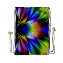 Bright Flower Fractal Star Floral Rainbow Drawstring Bag (small) by Mariart