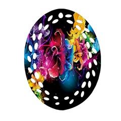 Abstract Patterns Lines Colors Flowers Floral Butterfly Oval Filigree Ornament (two Sides) by Mariart