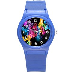 Abstract Patterns Lines Colors Flowers Floral Butterfly Round Plastic Sport Watch (s) by Mariart