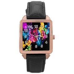 Abstract Patterns Lines Colors Flowers Floral Butterfly Rose Gold Leather Watch  by Mariart