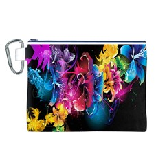 Abstract Patterns Lines Colors Flowers Floral Butterfly Canvas Cosmetic Bag (l) by Mariart