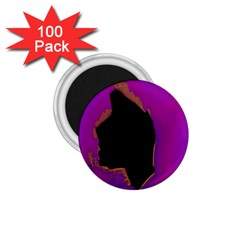 Buffalo Fractal Black Purple Space 1 75  Magnets (100 Pack)  by Mariart
