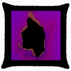 Buffalo Fractal Black Purple Space Throw Pillow Case (black) by Mariart