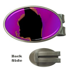 Buffalo Fractal Black Purple Space Money Clips (oval)  by Mariart
