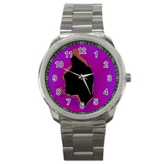 Buffalo Fractal Black Purple Space Sport Metal Watch by Mariart