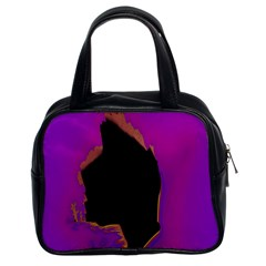 Buffalo Fractal Black Purple Space Classic Handbags (2 Sides) by Mariart