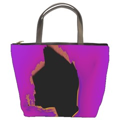 Buffalo Fractal Black Purple Space Bucket Bags by Mariart