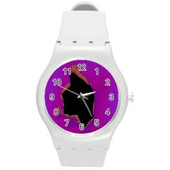 Buffalo Fractal Black Purple Space Round Plastic Sport Watch (m) by Mariart