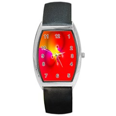 Complex Orange Red Pink Hole Yellow Barrel Style Metal Watch by Mariart