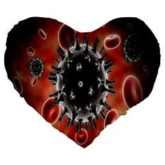Cancel Cells Broken Bacteria Virus Bold Large 19  Premium Flano Heart Shape Cushions by Mariart