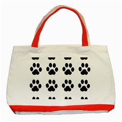 Claw Black Foot Chat Paw Animals Classic Tote Bag (red) by Mariart