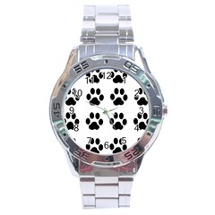 Claw Black Foot Chat Paw Animals Stainless Steel Analogue Watch by Mariart