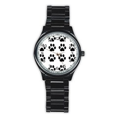 Claw Black Foot Chat Paw Animals Stainless Steel Round Watch by Mariart