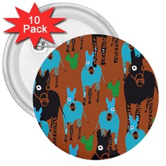 Zebra Horse Animals 3  Buttons (10 Pack)  by Mariart