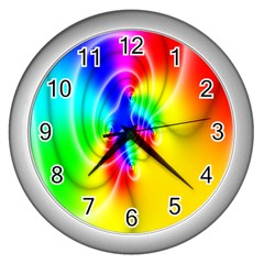 Complex Orange Red Pink Hole Yellow Green Blue Wall Clocks (silver)  by Mariart