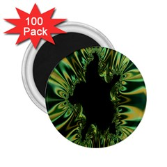 Burning Ship Fractal Silver Green Hole Black 2 25  Magnets (100 Pack)  by Mariart