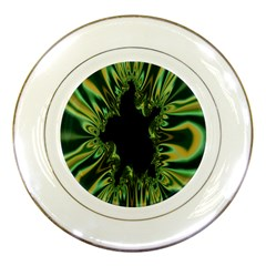 Burning Ship Fractal Silver Green Hole Black Porcelain Plates by Mariart