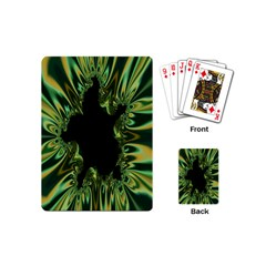 Burning Ship Fractal Silver Green Hole Black Playing Cards (mini)  by Mariart