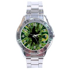 Burning Ship Fractal Silver Green Hole Black Stainless Steel Analogue Watch by Mariart