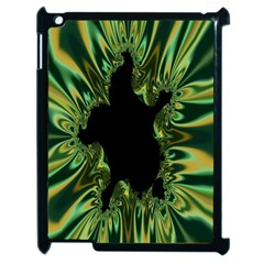 Burning Ship Fractal Silver Green Hole Black Apple Ipad 2 Case (black) by Mariart