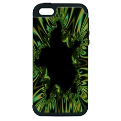 Burning Ship Fractal Silver Green Hole Black Apple Iphone 5 Hardshell Case (pc+silicone) by Mariart