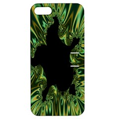Burning Ship Fractal Silver Green Hole Black Apple Iphone 5 Hardshell Case With Stand by Mariart
