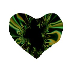 Burning Ship Fractal Silver Green Hole Black Standard 16  Premium Flano Heart Shape Cushions by Mariart