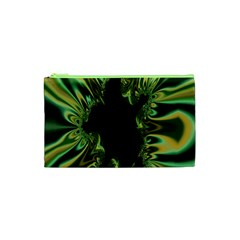 Burning Ship Fractal Silver Green Hole Black Cosmetic Bag (xs) by Mariart