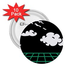 Illustration Cloud Line White Green Black Spot Polka 2 25  Buttons (10 Pack)  by Mariart