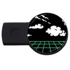 Illustration Cloud Line White Green Black Spot Polka Usb Flash Drive Round (2 Gb) by Mariart