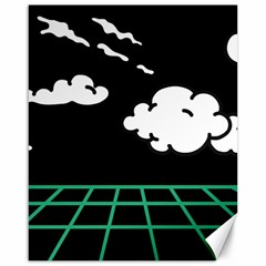 Illustration Cloud Line White Green Black Spot Polka Canvas 16  X 20   by Mariart