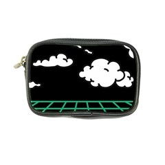Illustration Cloud Line White Green Black Spot Polka Coin Purse by Mariart