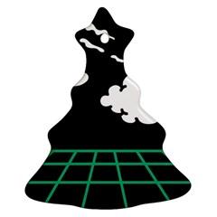 Illustration Cloud Line White Green Black Spot Polka Ornament (christmas Tree)  by Mariart