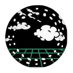 Illustration Cloud Line White Green Black Spot Polka Round Filigree Ornament (two Sides) by Mariart