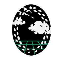 Illustration Cloud Line White Green Black Spot Polka Ornament (oval Filigree) by Mariart
