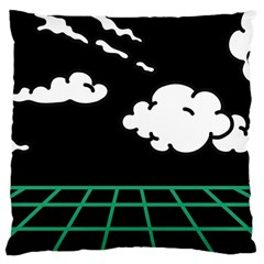 Illustration Cloud Line White Green Black Spot Polka Large Cushion Case (one Side) by Mariart