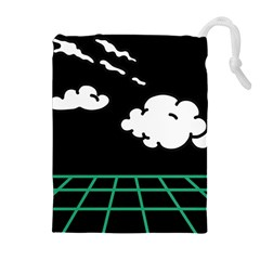 Illustration Cloud Line White Green Black Spot Polka Drawstring Pouches (extra Large) by Mariart