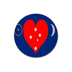 Love Heart Star Circle Polka Moon Red Blue White Magnet 3  (round) by Mariart