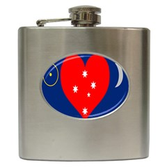 Love Heart Star Circle Polka Moon Red Blue White Hip Flask (6 Oz) by Mariart