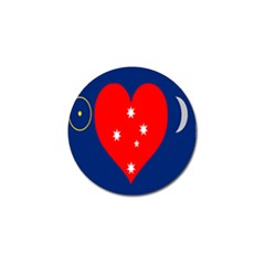 Love Heart Star Circle Polka Moon Red Blue White Golf Ball Marker by Mariart